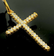 22k Pendant Solid Gold ELEGANT Simple Diamond Cut Jesus Cross Pendant P2203 mon