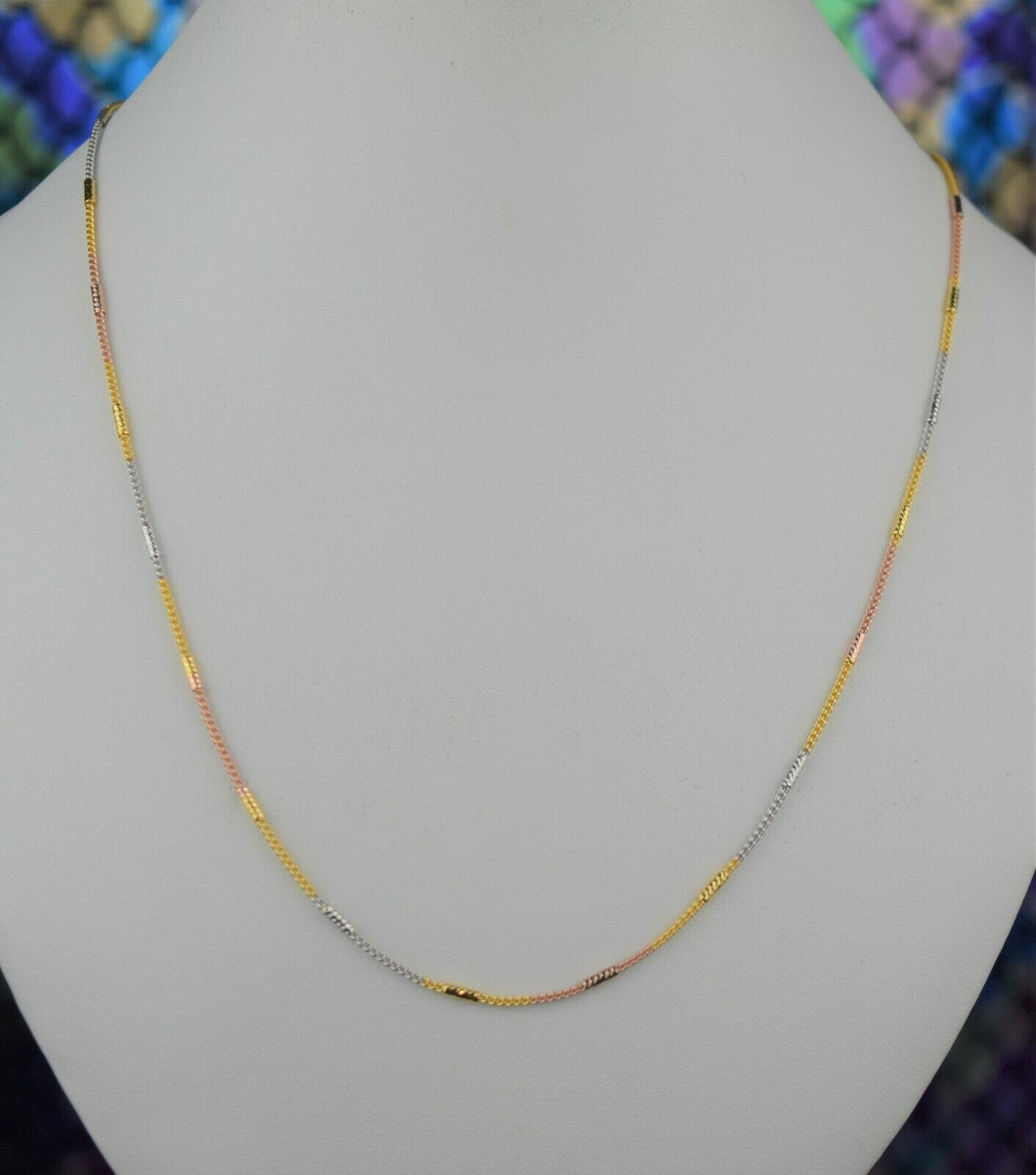 22k Chain Solid Gold Ladies Elegant Tri Tone Snake And Beads Link Design C038