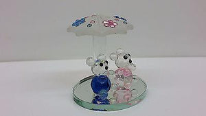 Vintage Crystal Couple Bear under Umbrella Free Shipping - Royal Dubai Jewellers