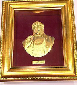 3D RAISED 24kt Solid Gold Sikh Punjabi Guru Nanak Idol Frame - Royal Dubai Jewellers