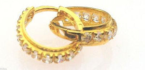 22k 22ct Solid Gold Hoops Bali ROUND Stone Earrings vmx - Royal Dubai Jewellers