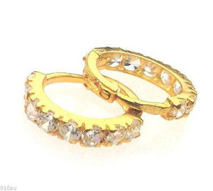 22k 22ct Solid Gold Hoops Bali ROUND Stone Earrings MX - Royal Dubai Jewellers