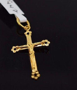 22k 22ct Solid Gold Cross Christian JESUS christ Pendant Diamond Cut P447 - Royal Dubai Jewellers