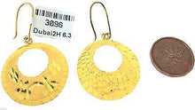 22k 22ct Solid Gold Long Round Hanging Earrings - Royal Dubai Jewellers