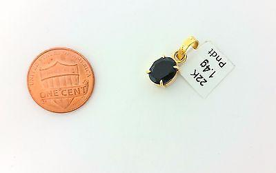 22k Solid Gold pendant with real black onyx