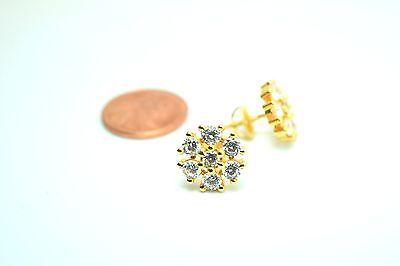 22k 22ct solid gold ELEGANT FLOWER STONE STUD EARRINGS FREE BOX E56 - Royal Dubai Jewellers