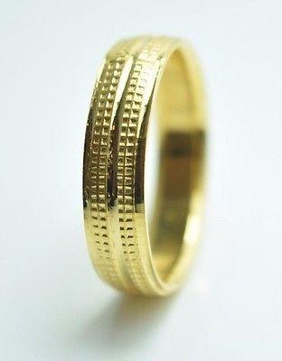 22k Yellow Gold Band Ring Mens or Ladies 5mm Width ANY SIZE AVAILABLE - Royal Dubai Jewellers