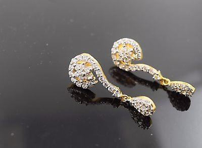 22k 22ct Solid Gold ELEGANT Stone Earrings with free box E536 - Royal Dubai Jewellers