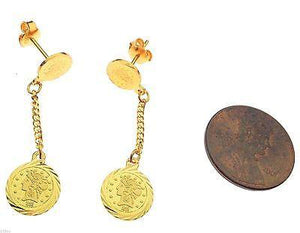 22k 22ct Solid Gold Round COIN VICTORIA Dangling Long Unique ELEGANT Earrings c2 - Royal Dubai Jewellers