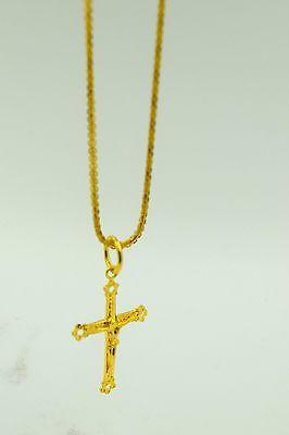 22k 22Ct Solid Gold ELEGANT Charm JESUS CROSS Pendent  p351 with unique box - Royal Dubai Jewellers
