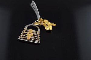 22k 22ct Solid Gold ELEGANT LOCK AND KEY Pendant With Diamond Cut BOX P426 - Royal Dubai Jewellers
