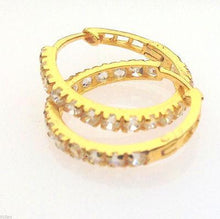 22k 22ct Solid Gold Hoops Bali ROUND Stone Earrings 2A - Royal Dubai Jewellers