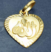22k 22ct Solid Yellow Gold MUSLIM Allah HEART Pendant charm FREE BOX P224 - Royal Dubai Jewellers