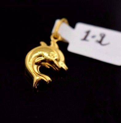 22k 22ct Solid Gold ELEGANT DOLPHIN Pendant With Diamond Cut BOX P443 - Royal Dubai Jewellers