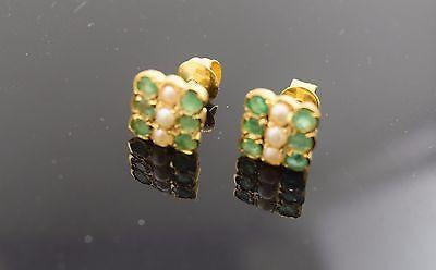 22k 22ct Solid Gold ELEGANT Green Pearl stone Earrings with free box E547 - Royal Dubai Jewellers