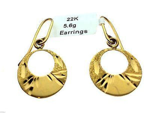 22k 22ct Solid Gold Long Round Hook Hanging Earrings MX - Royal Dubai Jewellers