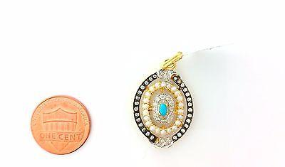 22k Solid Gold Pendant Elegant Design with turquoise pearl and dimonelle p0202 - Royal Dubai Jewellers