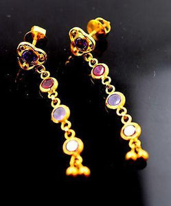 22k 22ct Solid Gold LONG STONE Hanging Earrings with BOX E1205 - Royal Dubai Jewellers