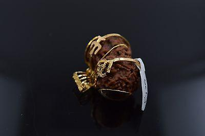 22k 22ct Solid Gold ELEGANT MUKHI RUDRAKSHA OM Pendant With Diamond Cut BOX P429
