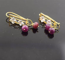 22k 22ct Solid Gold ELEGANT RUBY stone Earrings with free box E563 - Royal Dubai Jewellers