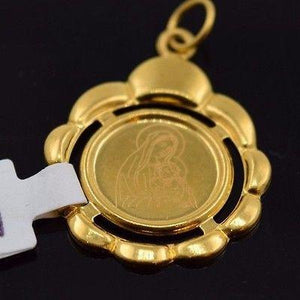 22k 22ct Solid Gold Cross Christian MOTHER MARY Pendant Diamond Cut P430 - Royal Dubai Jewellers