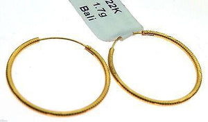 22k 22ct Solid Gold Hoops Bali ROUND Earrings MX - Royal Dubai Jewellers