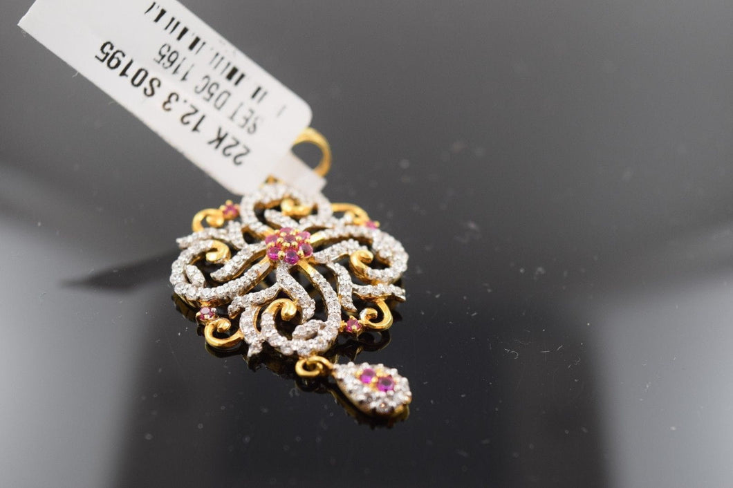 22k 22Ct Solid Gold ELEGANT Charm flower shape Pendent  s0195 with unique box - Royal Dubai Jewellers