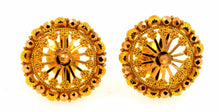 22k 22ct Solid Gold ELEGANT ROUND Earrings STUD with box E1119 - Royal Dubai Jewellers