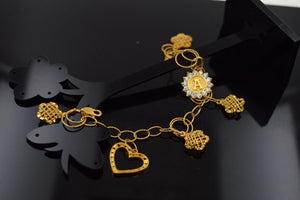 "22k 22ct Solid Gold ELEGANT Bracelet letter ""A"" DANGLING with unique BOX  B314 - Royal Dubai Jewellers"