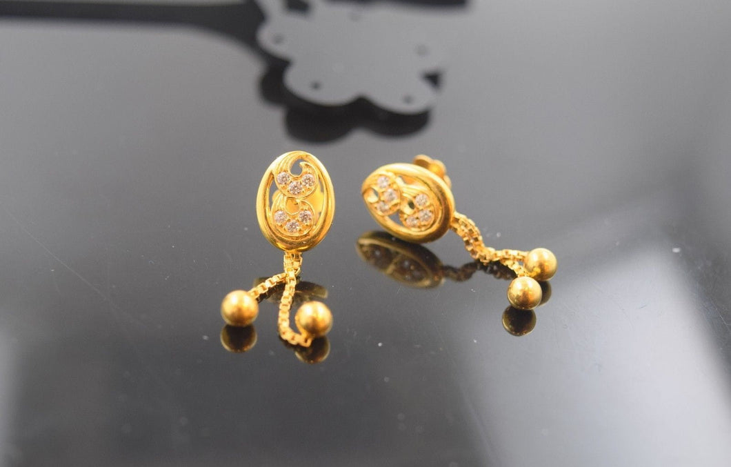 22k 22ct Solid Gold ELEGANT LONG STONE EARRING  e1279 - Royal Dubai Jewellers