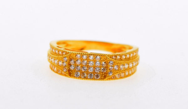 "22k 22ct Solid Gold ELEGANT STONE LADIES BAND Ring SIZE 7.0 ""RESIZABLE"" R641 - Royal Dubai Jewellers"