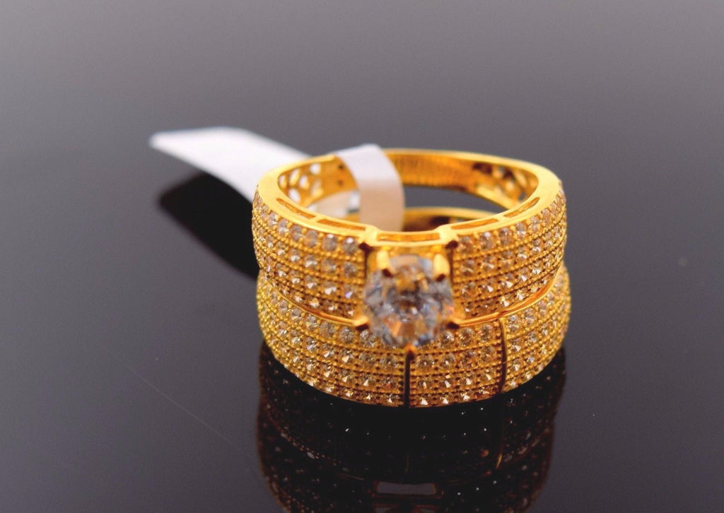 "22k 22ct Solid Gold ELEGANT STONE LADIES BAND Ring SIZE 7.5 ""RESIZABLE"" R688 - Royal Dubai Jewellers"