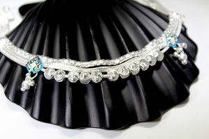 2PC HANDMADE  Solid Silver Payal 925 sbb14 Sterling adult ladies Anklets - Royal Dubai Jewellers