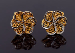 22k 22ct Solid YELLOW Gold TINY FLOWER SHIMMER STUD RHODIUM EARRINGS E1254 - Royal Dubai Jewellers