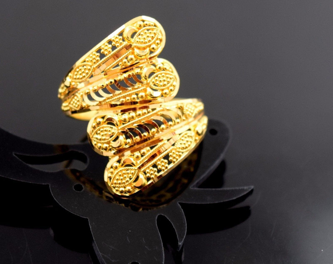 22k 22ct Solid Gold ELEGANT RING band with BOX FREE *RESIZING* R538 - Royal Dubai Jewellers