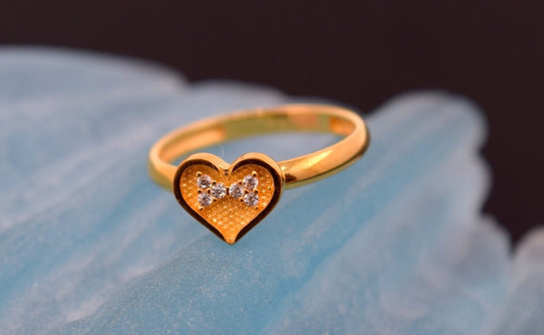 "22k 22ct Solid Gold CUTE ZIRCONIA HEART BABY KID Ring ""RESIZABLE"" size 4.2 r738 - Royal Dubai Jewellers"