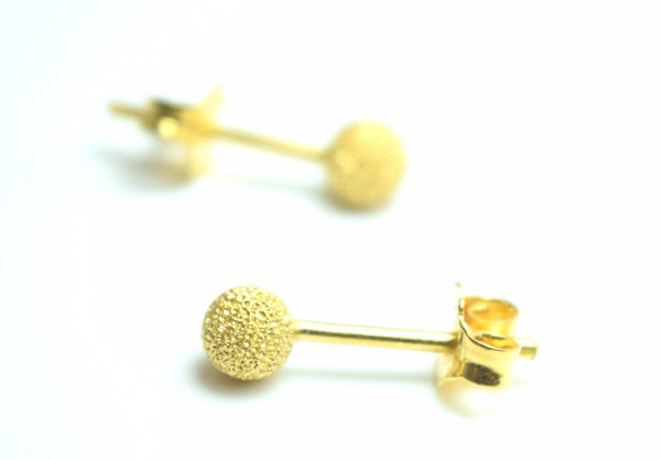 22k 22ct Solid Gold ELEGANT Small BALL Round EARRINGS STUD WITH BOX E1306 - Royal Dubai Jewellers