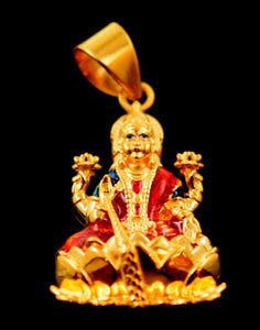 22k 22ct Solid Gold hindu goddess LAKSHMI MATA pendant charm locket P518 - Royal Dubai Jewellers