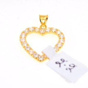 22k 22Ct Solid Gold ELEGANT STONE HEART Pendent P422 with unique box - Royal Dubai Jewellers