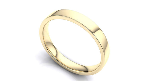 "14k Solid Gold 4mm Comfort Fit Wedding Flat Band in 14k Yellow Gold ""All sizes "" - Royal Dubai Jewellers"