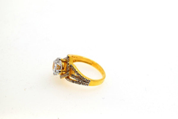 22k 22ct Solid Gold ELEGANT SOLITAIRE Stone RING BAND BOX No Resizable R471 - Royal Dubai Jewellers