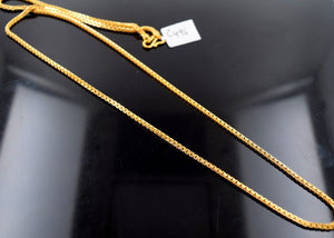 "22k 22ct Yellow Solid GOLD THICK ROUND BOX LINK Chain Necklace LENGHT 22""c496 - Royal Dubai Jewellers"