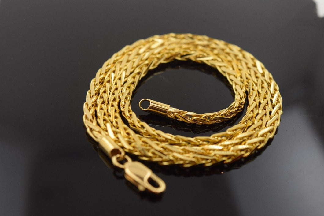 22k Gold Yellow Solid Chain Wheat Necklace 22