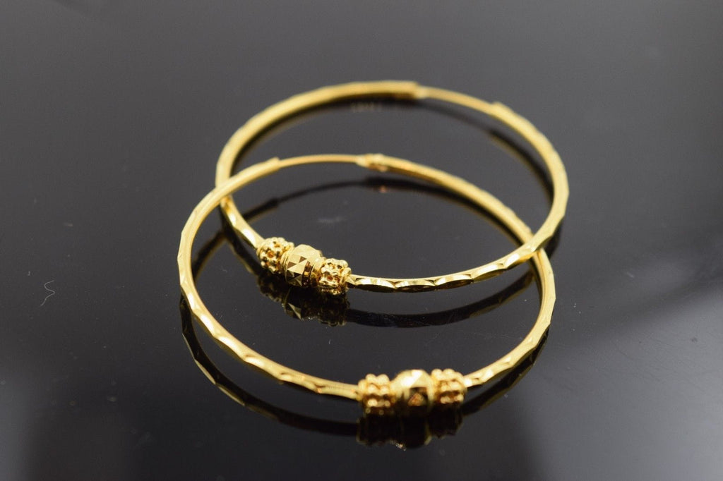 22k 22ct solid gold ELEGANT ROUND Hoop EARRINGS FREE BOX E417 size 1.5 inch - Royal Dubai Jewellers
