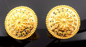 22k 22ct Solid Gold ELEGANT Earrings STUD with box E1118 - Royal Dubai Jewellers
