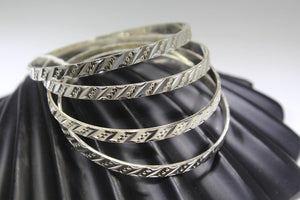 4PC HANDMADE women b127 Solid Sterling Silver 925 size 2.25 inch kara Bangle - Royal Dubai Jewellers