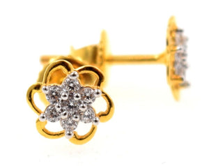 22k 22ct Solid Yellow Gold ZIRCONIA TINY FLOWER STONE DIAMOND CUT EARRINGS E1297 - Royal Dubai Jewellers