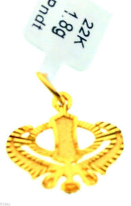 22k 22ct Solid Gold Sikh Singh Punjabi SIKHI KHANDA 3D Raised Pendant 0168 - Royal Dubai Jewellers