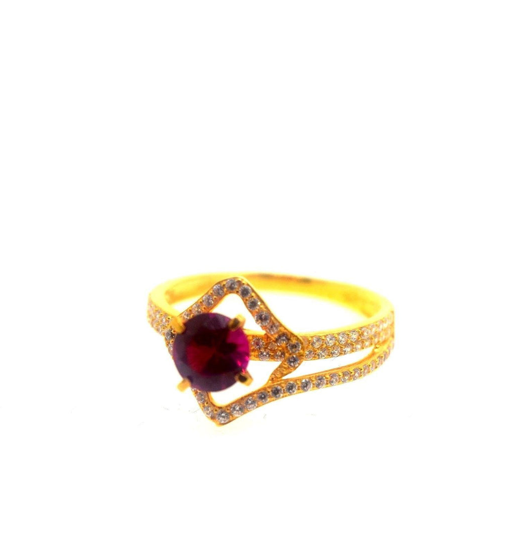 22k 22ct Solid Gold Elegant SYNTHETIC RUBY STONE Ring size 7.5