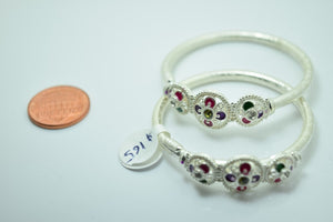 2PC HANDMADE Baby Solid Silver Bracelet 925 sb71 Sterling Children Bangle Cuff - Royal Dubai Jewellers